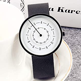 Lvmiao Fashion Simple Watch, Creative Personality Concept Watch, Trendy Black Technology Cool Waterproof Turntable boy and Girl Student Watch,1