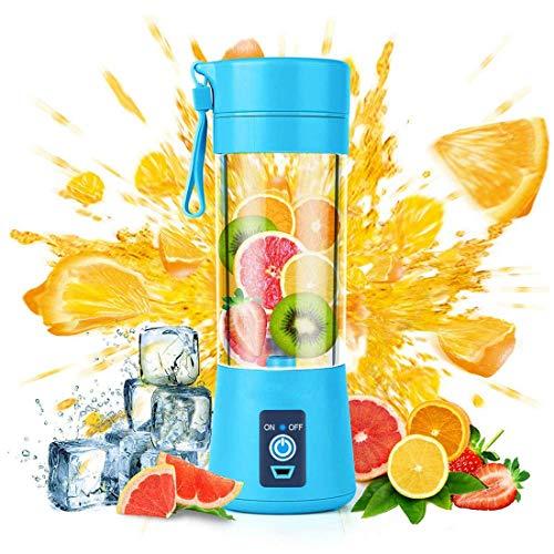 K.LSX Portable Sinaasappel-mixer, smoothie-mixer voor het huishouden - zes messen in 3D, mini-reismixer met USB-accu's, fruitmixer voor het huishouden
