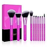 Kit de Brochas Maquillaje 10 Piezas Docolor Cerdas de Fibra Sintética Suave Estrella de lavanda