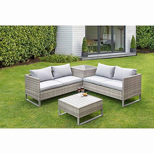Alfresco Living St Ives Rattan Effect Corner Garden Patio Sofa Table Storage Box Set