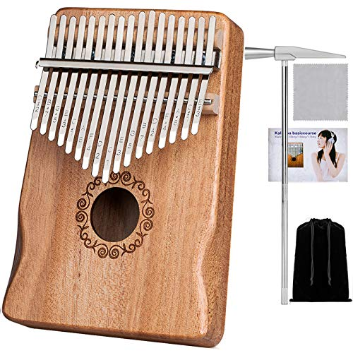 Kalimba 17 Keys Thumb Piano Portable Musical Instruments, Mbira Sanza Wood Finger Piano Gift for Kids Adult Beginners with Tune Hammer and Study Instruction (Natural Wood)