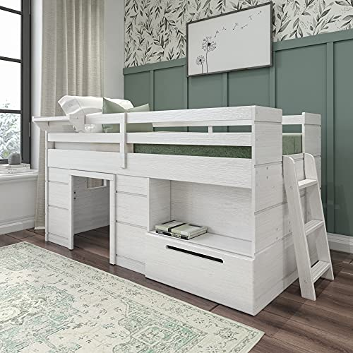 Max & Lily Modern Farmhouse Loft Bed with 1 Drawer, Twin, White Wash