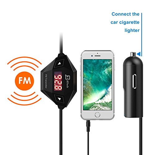 JETech Wireless FM Transmitter Radio Car Kit for Smart Phones Bundle with 3.5mm Audio Plug and Car...