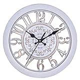 (Twin-happiness) 掛け時計 ウォール クロック 北欧風 アンティーク調 連続秒針 インテリア 壁掛け アナログ (ホワイト)