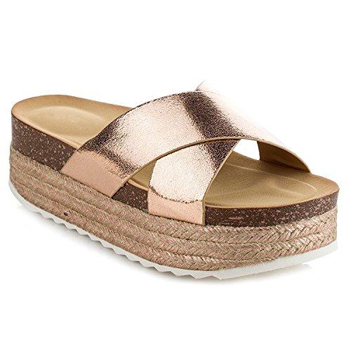 Women's Espadrille Platform Slide Sandals Slip On Flat Summer Beach Casual Shoes GG10 (11, Rose Gold)