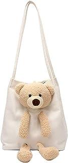 Canvas Bag Cute Bear Canvas Girls Shoulder Bag Female Student Women Shoulder Messenger Bag Tote Bag Canvas Bag Large Capacity
