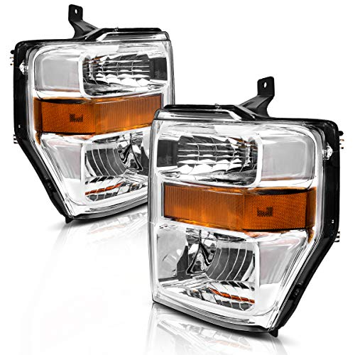 AUTOSAVER88 Headlight Assembly Compatible with 2008-2010 Ford F250 F350 F450 Super duty,OE Projector Headlamp,Chrome Housing,(7C3Z-13008BA,7C3Z-13008AA)