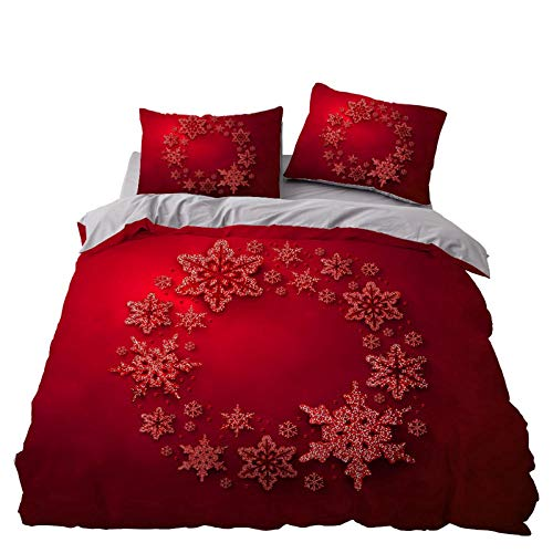 RTSE Christmas Duvet Cover, Colour, 3D Printed Pattern, 2/3 Pieces, Microfibre Bedding with Hidden Zip, Suitable for Children and Teenagers (R,220X240)