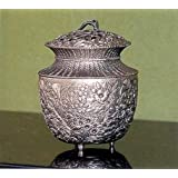 香炉 香立て 七草模様 合金製銀メッキ 桐箱入 (高岡銅器) u387ー07