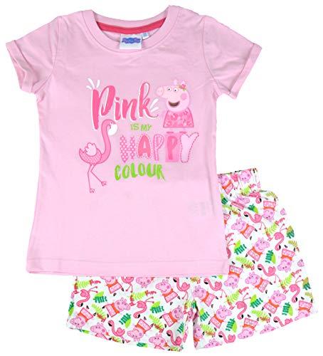 Peppa Wutz – Mädchen Pyjama Pink, kurz, Gr. 122/128 Schlafanzug Kinder