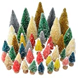 Yookat 40Pcs Mini Pine Trees Artificial Mini Trees with Wood Base Sisal Trees Bottle Brush Trees Assorted Color for Christmas Decoration Winter Ornaments DIY Crafts
