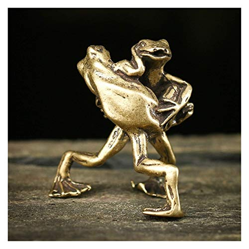 HUHAA Sculpture Statue Ornaments for Living Room, Pure Copper Solid Frogs Wrestling Ornament, Home Decoration 3 * 4cm Frog Sculpture