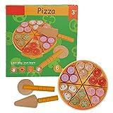 Juguete para pizza, juguete para cortar pizza, juguete para pizza de madera sin rebabas, juguete de cocina de simulación, para cocina casera para bebés y niños(Pizza Chechele)