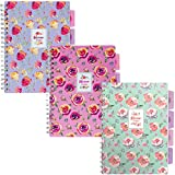Pukka Pad 5-Subject Divider Notebook 3-Pack 7 x 10 In. 100 Premium 80 GSM Sheets Pink Green Purple