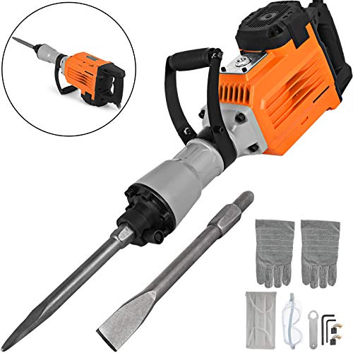 Mophorn 3600W Electric Demolition Hammer Heavy Duty Concrete Breaker 1800 RPM Jack Hammer Demolition Drills with Flat Chisel Bull Point Chisel (3600 W)