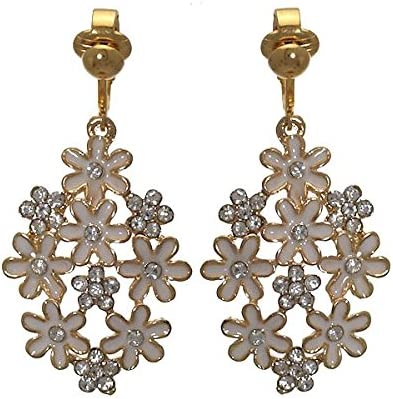 PRETTY Gold plated White Flower Crystal Clip On Earrings