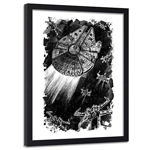 Imagen con Marco negro Nave espacial Cuadro Poster Blanco 50x70 cm