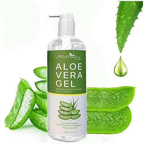 Alotlucky Aloe Vera Gel, 250ml Aloe Vera Gesicht Gel, Natürlich Aloe Vera Extrakt, Beruhigend und feuchtigkeitsspendend, Sonnenschutz und Selbstbräuner, für Gesicht, Körper, Sonnenbrand