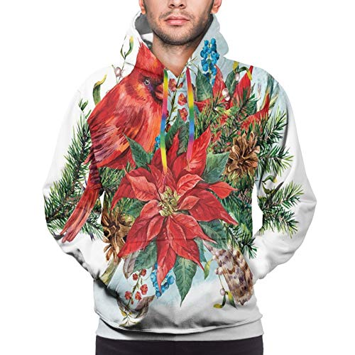Men's Hoodies Sweatshirts,Christmas Themed Bird On Festive Floral Bouquet Poinsettia Pinecones and Berries,Small