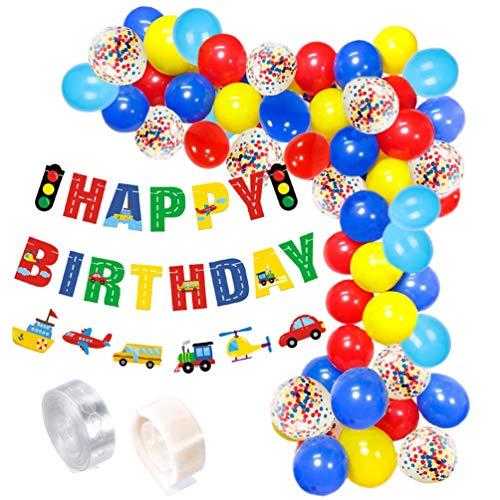 Amosfun - Juego de 74 globos de transporte para decoración de cumpleaños, diseño con texto