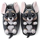 corimori - Chico el Chihuahua, Zapatillas de Felpa para niños y niñas, EU Talla única 34 a 44 (Gris)