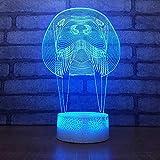 León marino dominante lámpara de mesa pequeña acrílico multicolor luz de noche pequeña decoración creativa lámpara de mesa pequeña luz LED luz de visión 3D