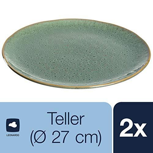 Leonardo Teller Matera 2-er Set, 27 cm, 2 Keramik Teller, spülmaschinengeeignet, mit Glasur grün, 026988