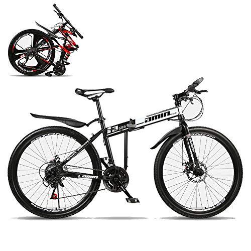 TopJiä Adolescentes Bicicleta De Montaña Plegable,21 Velocidad,Radios.Alta Coincidencia,Barato 24 Pulgadas Bicicleta Montaña para Al Aire Libre Ocio Deporte Montaña Rain Road Acampada D 21 Velocidad