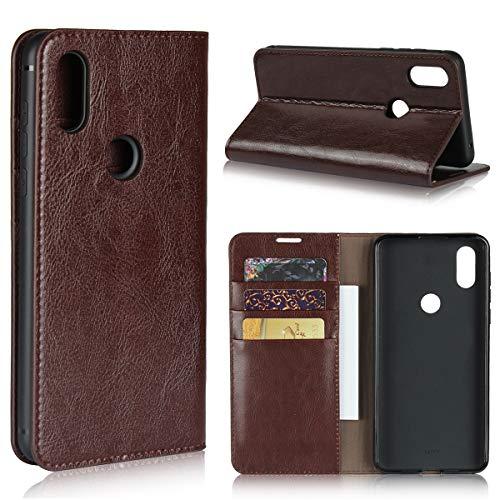 Copmob Hülle Xiaomi Mi Mix 3,Premium Flip Brieftasche Leder Schutzhülle,[3 Kartensteckplätze][Bracket-Funktion][Stoßfestes TPU],Ledertasche Handyhülle für Xiaomi Mi Mix 3 - Dunkelbraun