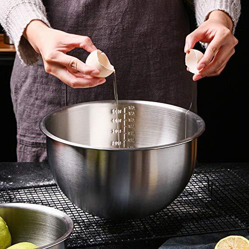 4.5 cuarto de galón de huevos de mezcla profunda 9 pulgadas Cuenco de metal de cocina para la ensalada de hornear 304 cuencos de acero inoxidable de los cuencos de mezcla con escala Tazón de cocina