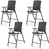 Giantex Folding Wicker Rattan Bar Chairs Tall Stool with...