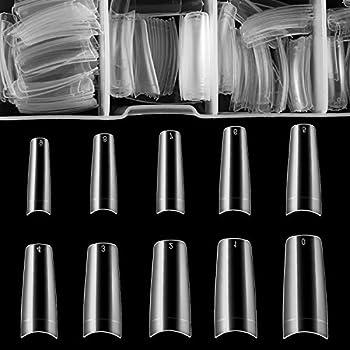 French False Nail Tips iBealous 500pcs Acrylic Coffin Fake Nails Half Cover with Box for Nail Salons and DIY Nail Art 10 Sizes  Clear