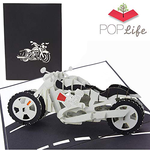 PopLife Cards Motorrad Väter Tag Popup-Karte für alle Gelegenheiten Vatertag, alles Gute zum Geburtstag, Ruhestand, Jubiläum, Abschluss, Over-the-Hill-Biker, Fahrrad-Modell Sammler Falten flach für M