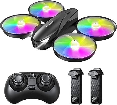 Tomzon Drone per Bambini, A31 Mini Drone con LED Colorati, modalità Senza Testa, Decollo   Atterraggio con Un Clic, 3 velocità Regolabile, Drone Tascabile per Principianti, 2 Batterie