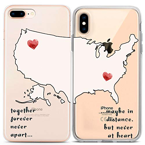 Lex Altern Couple Cases Compatible with iPhone 12 Pro Max 11 Mini SE Xr Xs 8 Plus 7 6 Lightweight Relationship Boyfriend Quote Distance BFFs Together Forever Silicone Cute TPU Map Love Cover Matching