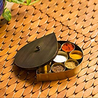 ExclusiveLane Small Indian Handcrafted Flavoured Leaf-Drop Spice Box in Pure Brass (8 Containers) - Spice Organizer Masala Dabba Spices Storage Containers Jars Metal Masala Box for Kitchen Tableware