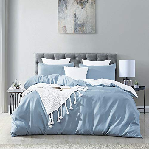 Aisbo Microfiber Reversible Duvet Covers Set Double Size - Spa Blue & White, 3 PCS with Pillow Case Bedding Set, Smooth Feeling with Zipper & Corner Ties, Soft & Breathable Quilt Cover Set