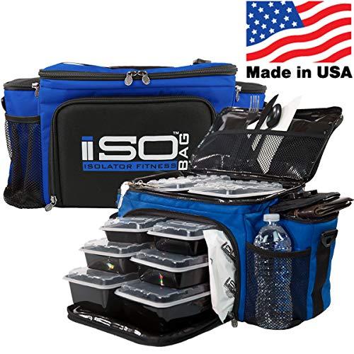Isolator Fitness Isobag 6 Mahlzeiten Management System - Reverse Color (Blau/Schwarzer Akzent) Isolierte Mahlzeiten-Kühltasche