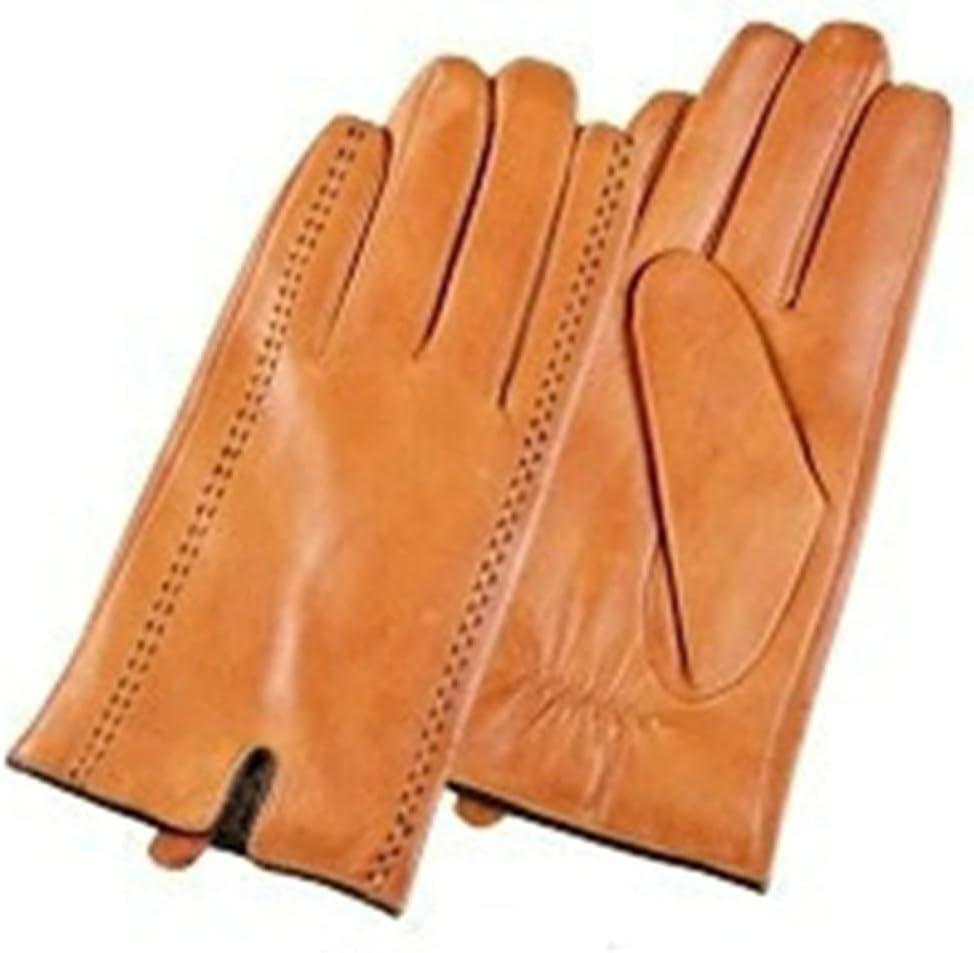 WBDL Winter Men's Leather Gloves Touch Screen Gloves Fashion Warm Black Gloves Goatskin Mittens (Color : Orange, Size : Medium)