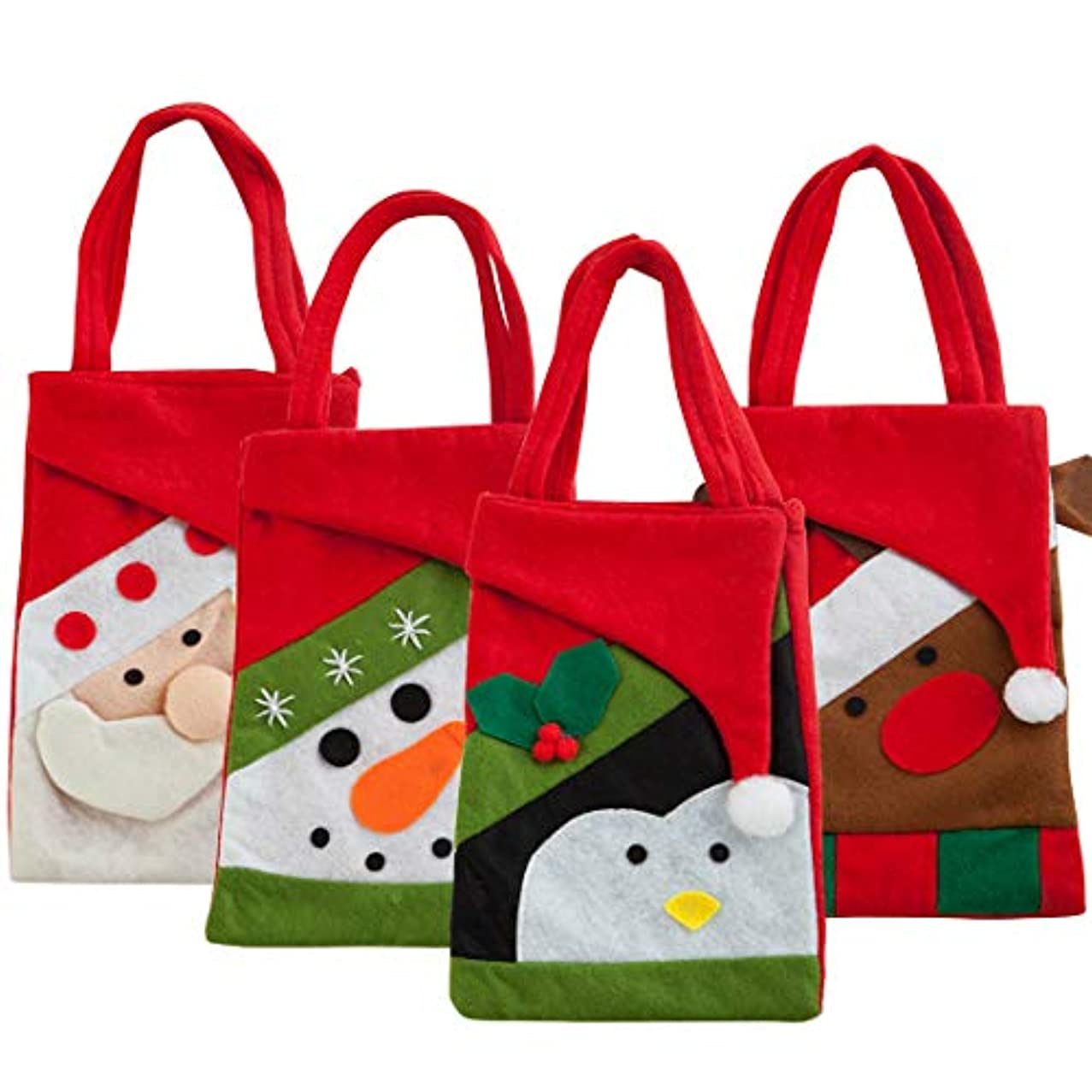 4Pcs Christmas Candy Gift Bags, Christmas Candy Treat Bags Santa Tote Handbag with Handle Portable Candy Baskets Gift Wrap for Christmas Xmas Ornaments Wedding Party Decoration
