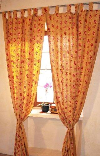 Guru-Shop Gordijn, Gordijn (1 Paar Gordijnen, Gordijnen) met Lussen, met de Hand Bedrukt - Vismotief, Geel, Katoen, Lengte: 290 cm, Gordijnen en Draperieën