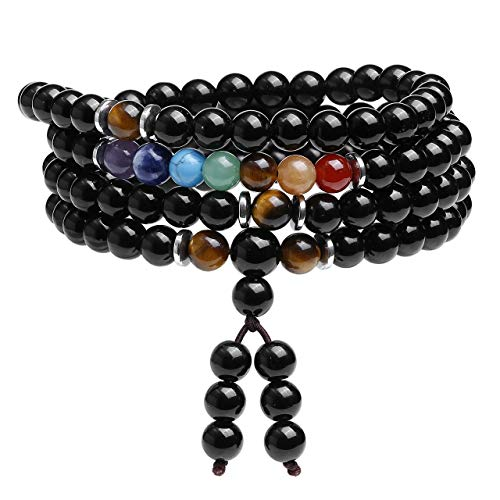 CrystalTears 108 Mala Prayer Beads Wrap Bracelet Necklace Natural Black Obsidian Stone Bracelet Necklace 7 Chakra Reki Healing Crystal Yoga Meditation Multilayer Gemstone Bracelets for Women Men