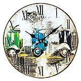 CAPRILO Reloj de Pared Decorativo de Madera Motos Vespa Antiguas. Adornos Pared. Cuadros. 34 x 34 x 4 cm.