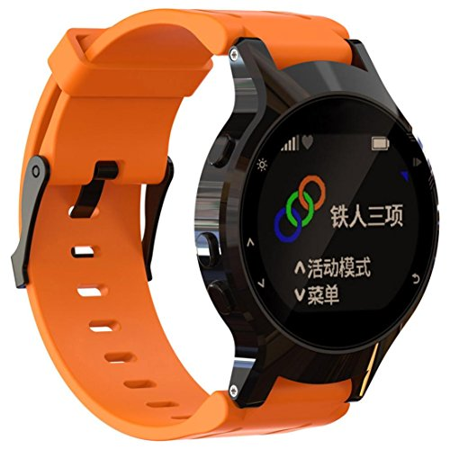 Rawdah Suave Silicona reemplazo Banda de Reloj + Funda para Garmin Forerunner 225 GPS Watch (Naranja)