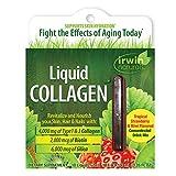 Irwin Naturals Liquid Collagen 4,000mg Hydrolyzed Type 1 & 3 Anti-Aging Support - Healthy Skin, Hair & Nails with Antioxidants, Biotin & Silica - Strawberry Kiwi Flavor - 10 Liquid-Tubes