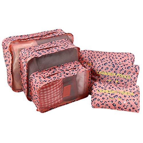 CLE DE Tous - Set de 6 Bolsas de Organización Varias Medidas Organizador para Maleta Viaje (Leopardo Rosa)