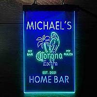 Coronas Extra Parrot Bird Palm Tree パーソナライズされたマイホームバーの装飾 Decor LED看板 ネオンサイン バーライト 電飾 ビールバー 広告用標識 緑色 + 青色 W30cm x H40cm