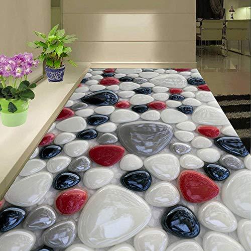 Selbstklebende 3D-Bodentapete 3D-Muster Gepflasterte Farbe Moderne Wandbeschichtung für Wohnzimmer und Badezimmer 350x245cm