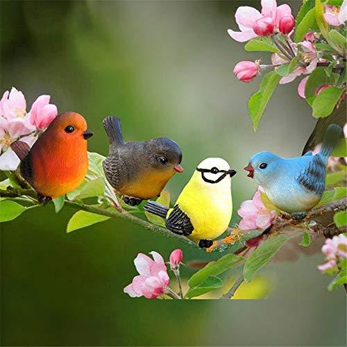 Gartenzwerg Figuren Dekoration, Satz von 4 Vogel-Garten-Verzierung für Häuser/Parks/Gärten/Kindergärten Garden Home Office Lustiges Neuheitengeschenk… (Farbe : Farbe, Größe : 10 * 4 * 7cm)