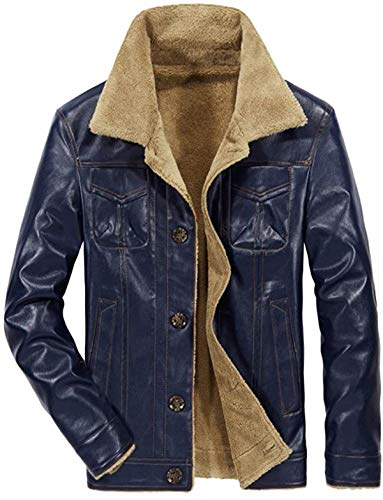 Men's Casual PU Leather Jacket Button Down Collar Thick Coat for Winter